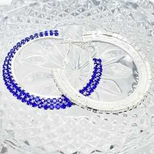 Prom Pageant Bridal Jewelry - Blue Rhinestone Hoops Prom Pageant Party Event